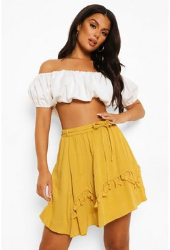Mustard yellow Cheesecloth Tiered Frill Skater Skirt