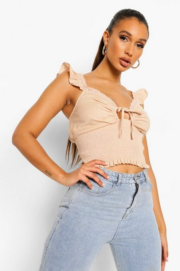 Stone beige Ruffle Detail Shirred Top