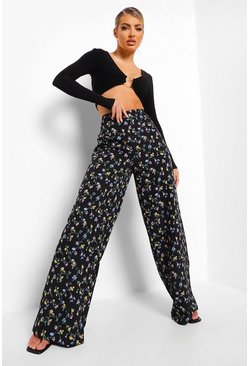 Black Ditsy Floral Wide Leg Trousers