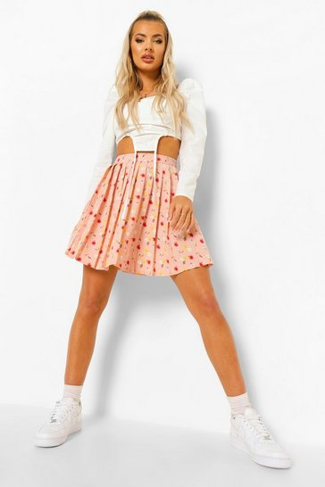 Peach orange Ditsy Floral Pleated Skater Skirt