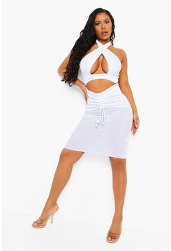 White Textured Slinky Halterneck Midi Dress