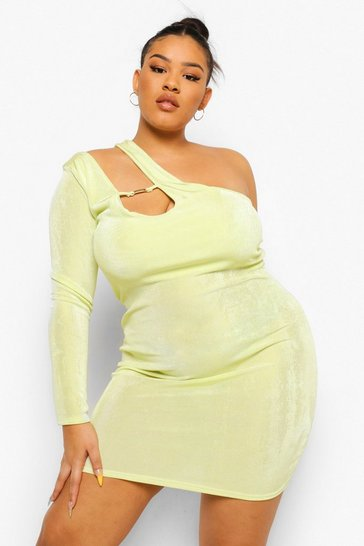Chartreuse yellow Textured Slinky One Sleeve Clip Mini Dress
