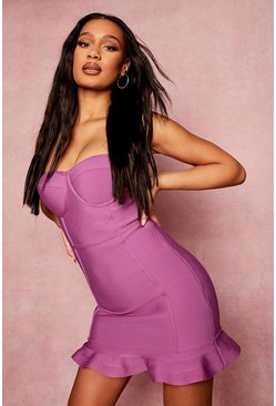 Magenta pink Bandage Bandeau Frill Hem Mini Dress