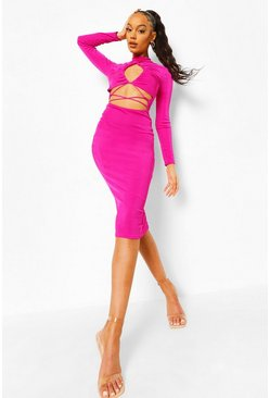 Fushia pink Textured Slinky Cut Out Midaxi Dress