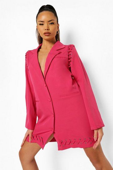 Raspberry pink Eyelet Hem Detail Blazer Dress