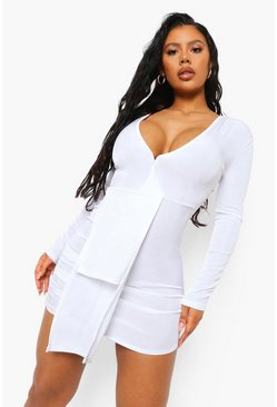 White Textured Slinky Drape Mini Dress