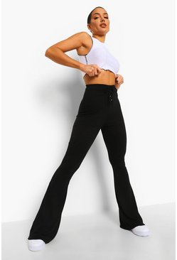 Black Ribbed Lace Up Flared Trousers