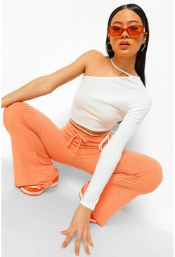 Pastel coral pink Ribbed Lace Up Flared Trousers