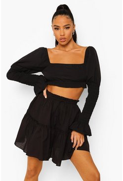 Black Cotton Ruffle Tiered Mini Skater Skirt
