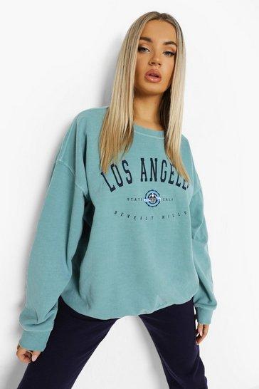 Sage green Los Angeles Overdyed Oversized Sweatshirt