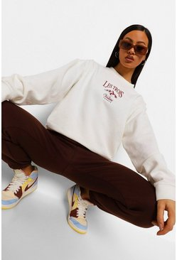Mountain Embroidered Oversized Sweatshirt , Off white bianco