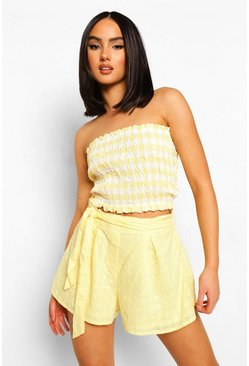 Lemon yellow Broderie Anglaise Belted Flippy Shorts
