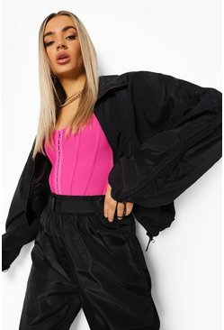 Black Ruched Sleeve Windbreaker
