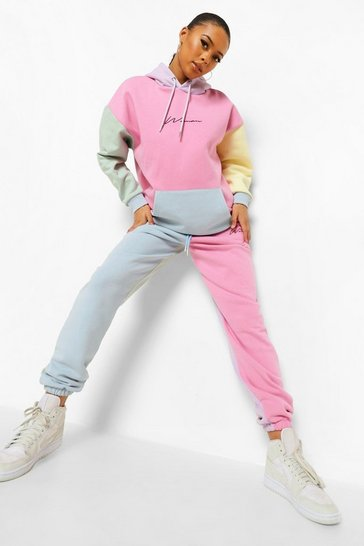 Multi Woman Embroidered Pastel Colour Block Joggers