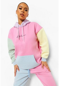 Multi Woman Embroidered Pastel Colour Block Hoodie