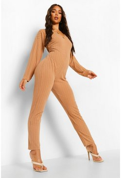Camel beige Jumbo Rib Slouch Button Detail Jumpsuit