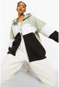 Woman Colour Block Zip Up Oversized Hoodie, Sage Серый