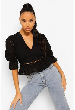Black Eyelet Lace Up Back Top