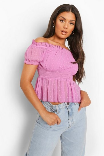 Lilac purple Dobby Shirred Off The Shoulder Top