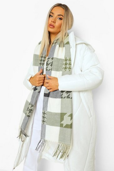 Green olive green Chunky Dog Tooth Fringe Scarf