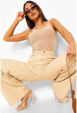 Stone beige Double Layer Racer Bodysuit
