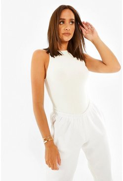 Ivory white Double Layer Racer Bodysuit