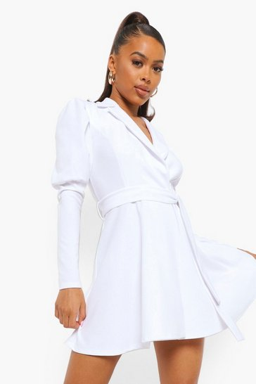 White Puff Sleeve Wrap Skater Blazer Dress