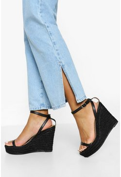 Black 2 Part Espadrille Wedge