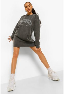 Charcoal grey Los Angeles Slogan Washed Sweat Dress