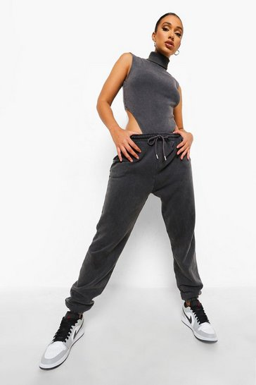 Charcoal grey Acid Wash Ribbed Bodysuit And Jogger