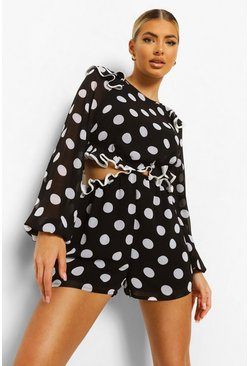 Black Polka Dot Cut Out Ruffle Playsuit