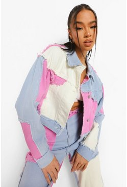 Bright lilac purple Colour Block Patchwork Cropped Denim Jacket