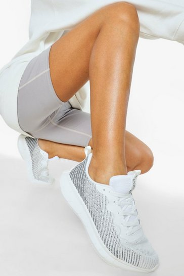 White Knitted Running Trainers