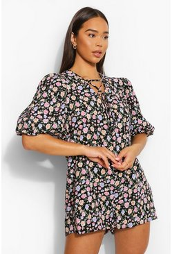 Black Floral Puff Sleeve Tie V Neck Smock Playsuit