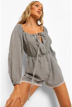 Gingham Puff Sleeve Cut Out Tiered Playsuit, Black negro