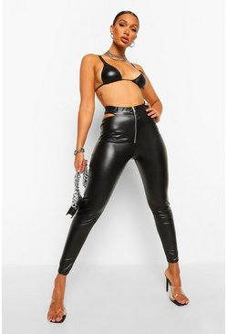Black Zip Cut Out Leather Look Pu Legging