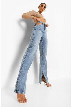 Vintage wash blue Cut Out Split Leg Jean