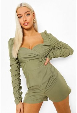Khaki Rouched Wrap Playsuit