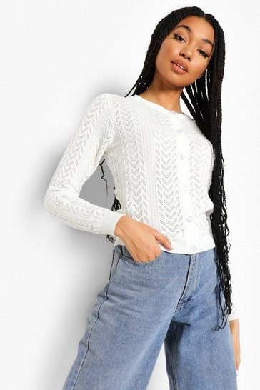 Ivory white Pointelle Crop Cardigan