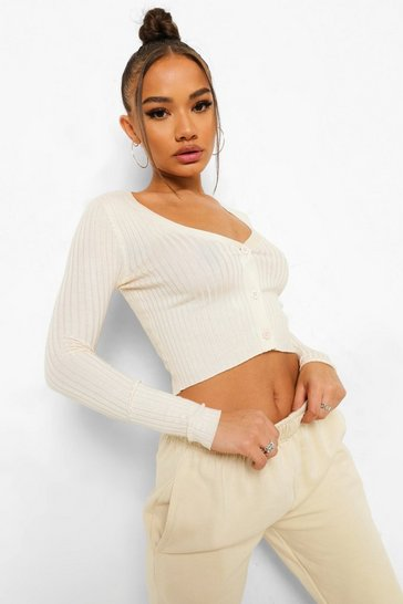 Cream white Rib Knit Crop Cardigan
