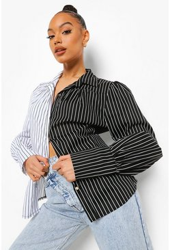 Black Contrast Pinstripe Volume Sleeve Shirt