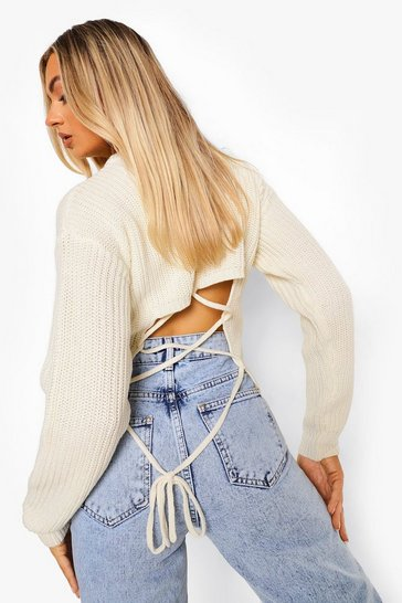 Ivory white Lace Up Back Jumper
