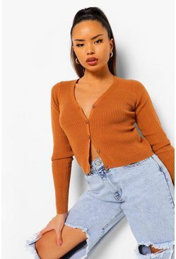 Camel beige Rib Knit Button Through Crop Cardigan