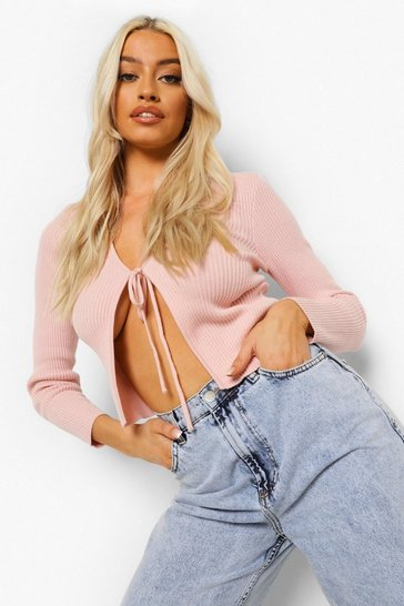 Pink Rib Knit Lace Up Crop Cardigan