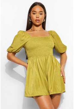 Chartreuse yellow Shirred Bust Puff Sleeve Romper