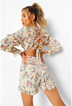 White Floral Lace Up Back Cut Out Playsuit