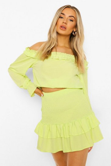 Chartreuse yellow Bardot Shirred Top And Mini