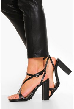 Black Wide Fit Strappy Block Heel Sandal