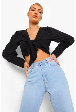 Black Volume Sleeve Knot Front Blouse