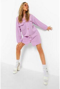 Lilac purple Longline Knitted Shacket